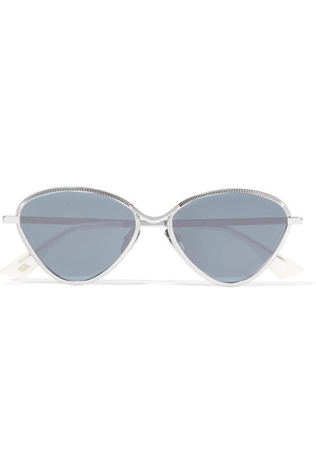 Le Specs Bazaar Cat-Eye Silver-Tone Mirrored Sunglasses