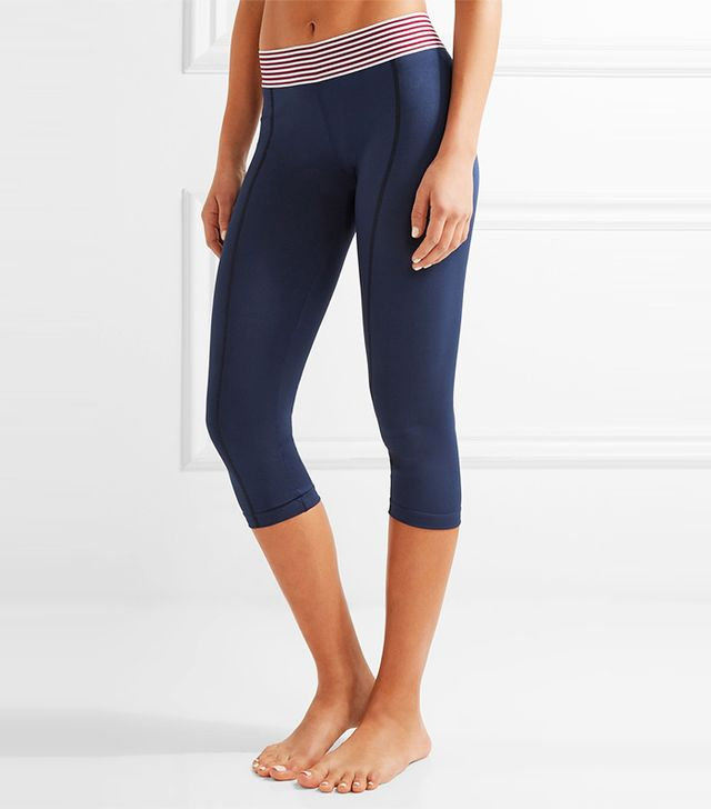 Olympia Activewear Nusa Stripe-Trimmed Stretch-Jersey Leggings