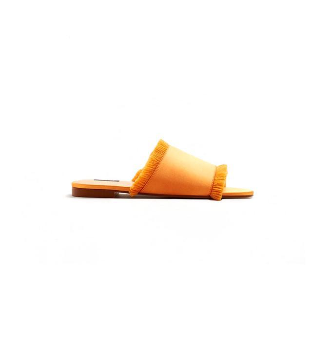 Mango Fringe Satin Sandals