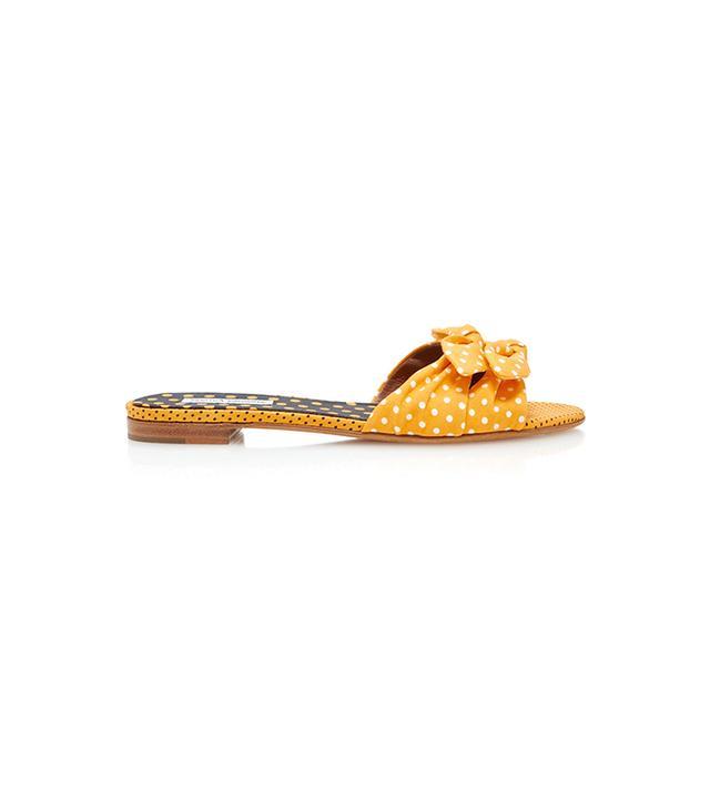 Tabitha Simmons Cleo Polka-Dot Silk And Cotton-Blend Sandals