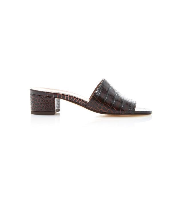Maryam Nassir Zadeh Sophie Croc-Embossed Leather Slides
