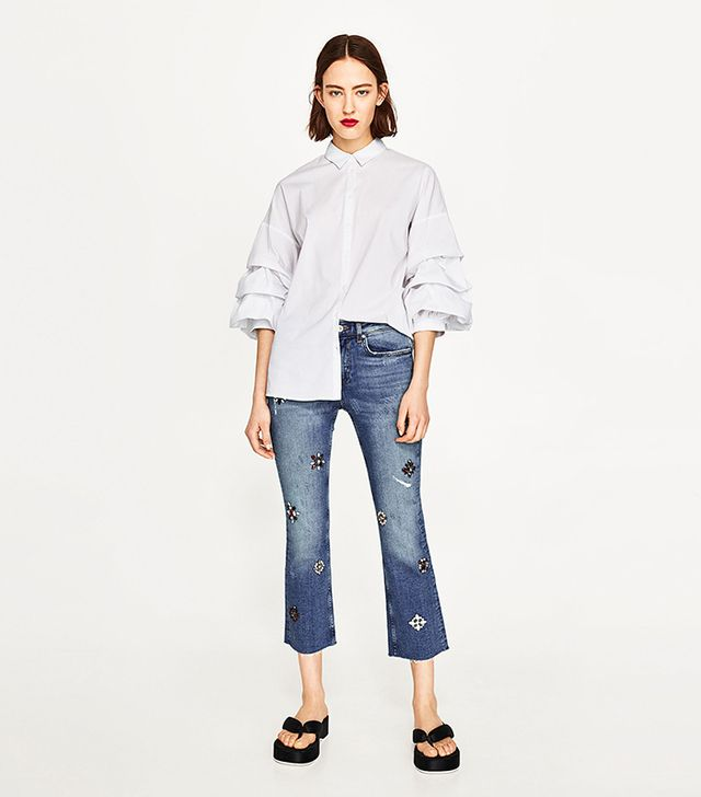 jean styles - Zara High Waisted Jeans With Gems