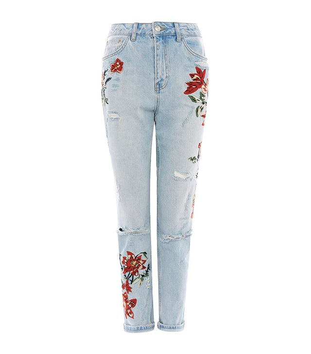 jean styles - Topshop Flower Embroidered Mom Jeans