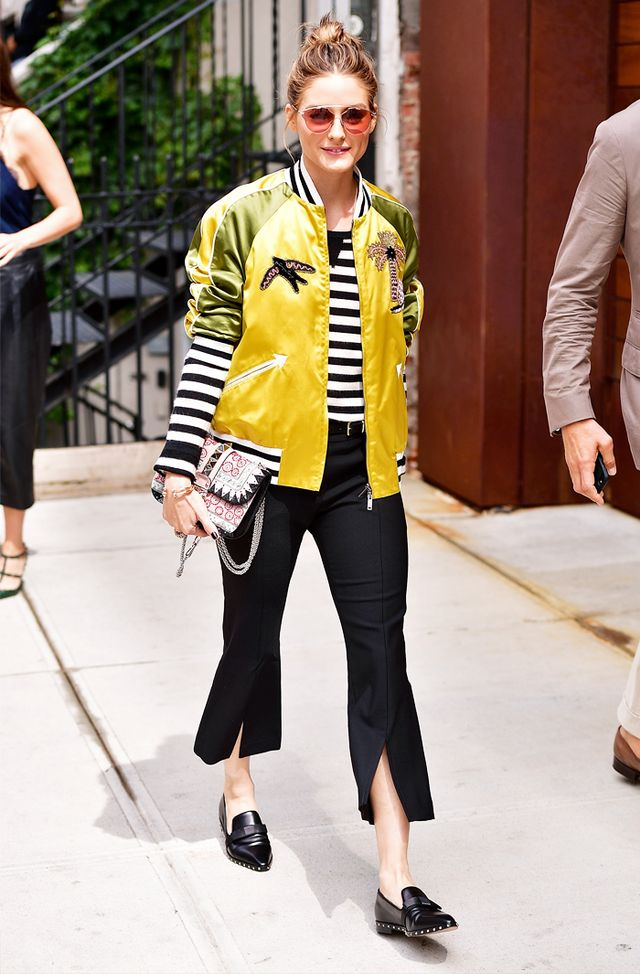 Olivia Palermo wearing split-front trousers in New York City