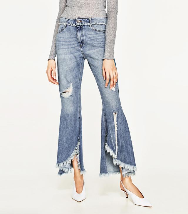 Zara Mid-Rise Frayed Jeans