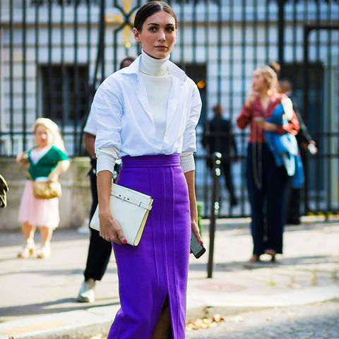 How to Wear Purple: Deep purple with white looks clean and modern