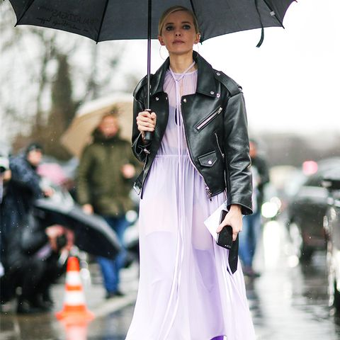 How to Wear Purple: Go tonal in lilac, then ground with black leather