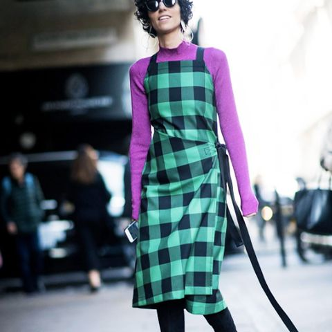 How to Wear Purple: Purple works well into winter with black and dark prints