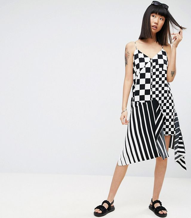 ASOS Slip Dress in Mixed Stripe and Check Print