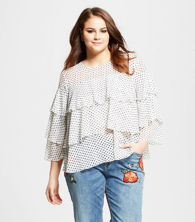 Who What Wear Layered Ruffle Blouse