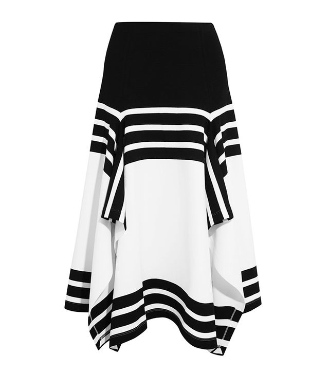 Rosetta Getty Asymmetric Striped Stretch-Jersey Midi Skirt