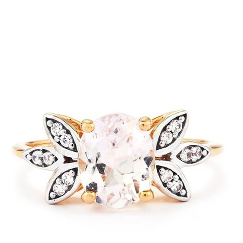 Mawi Kunzite Ring With White Zircon in 9K Rose Gold