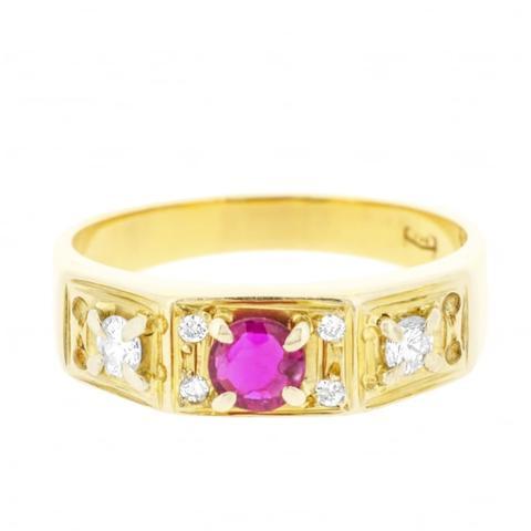 Vibrant Round Brilliant Cut Ruby and Diamond Ring