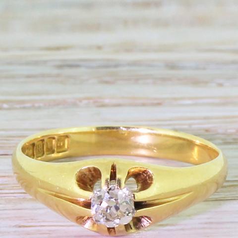 0.35 Carat Old Cut Diamond Gypsy Style Ring