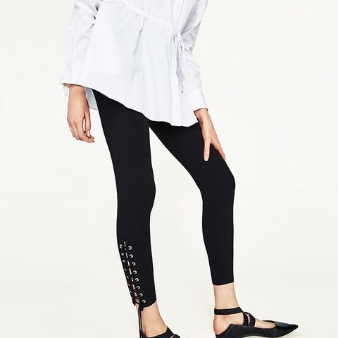 Skinny Trousers With Metallic Details in Black