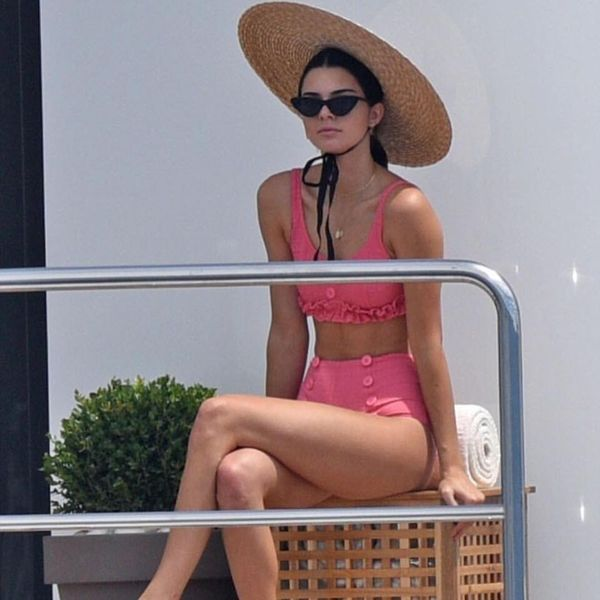 On Jenner: Jacquemus hat; Lisa Marie Fernandez Two-Piece Colby Ruffle Button Bikini ($420); Le Specs The Last Lolita Cat-Eye Sunglasses ($75). We never knew how badly we need a ruffled, buttoned,...