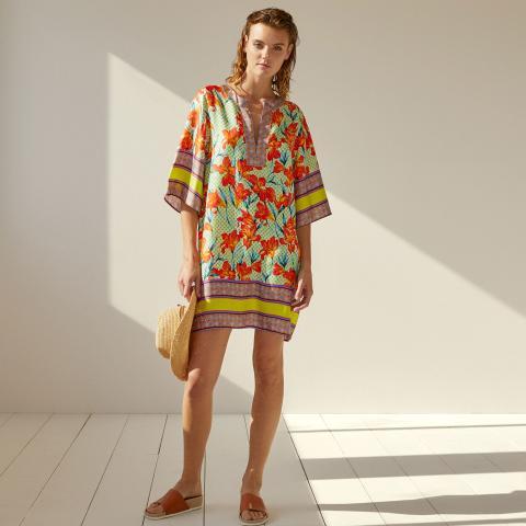 Floral Print Silk Tunic