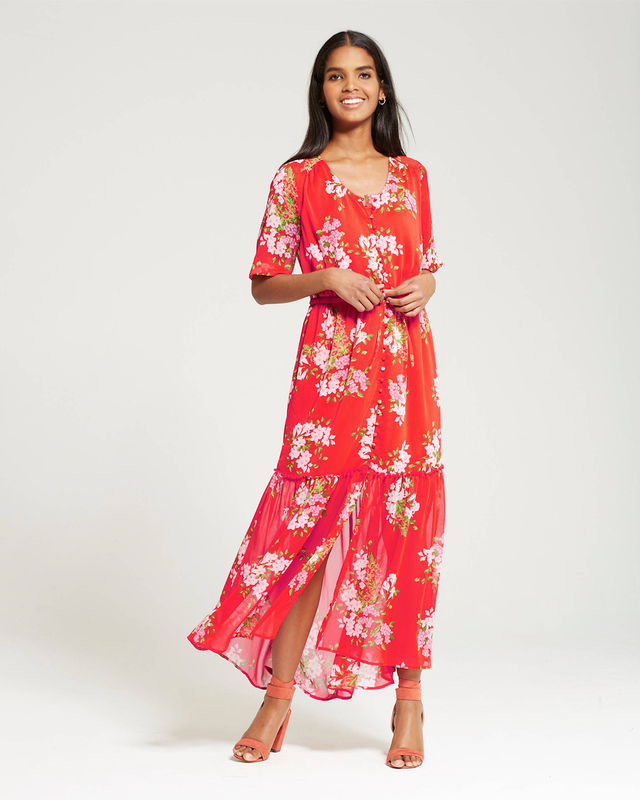 Who What Wear Tiered Maxi Print Dress