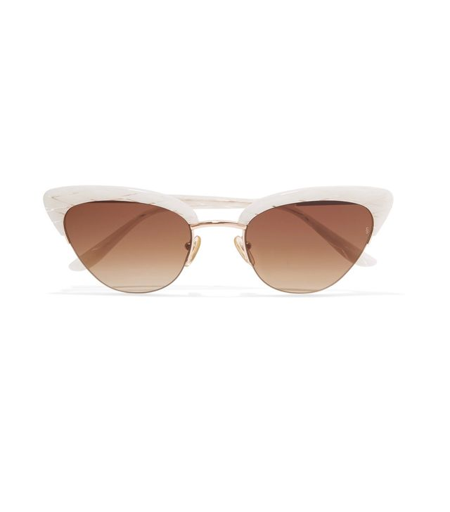 Sunday Somewhere Pixie Cat-Eye Acetate and Rose Gold-Tone Sunglasses