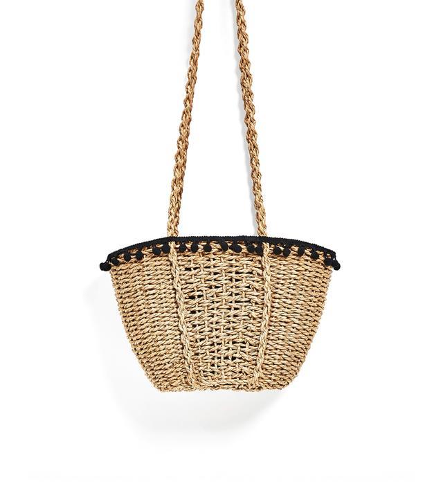 Zara Pom Pom Basket Bag