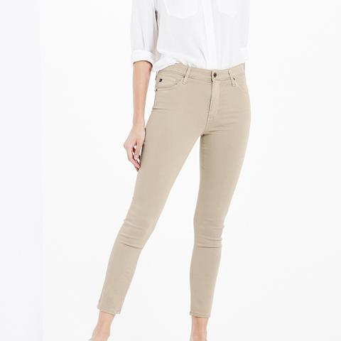 The Sateen Farrah Skinny Crop Jeans in Sulfur Granola