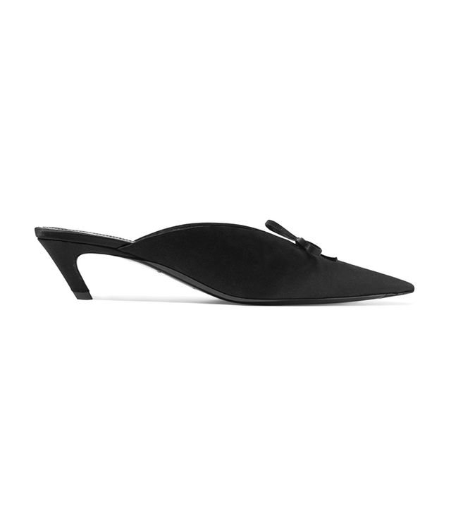 Balenciaga Bow-Embellished Satin Mules