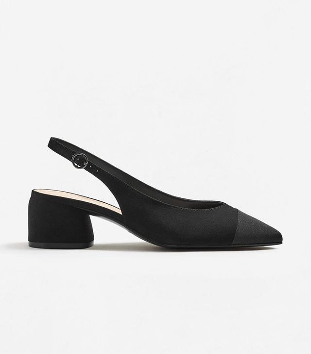 Mango Texture Pointed Slingback Shoes