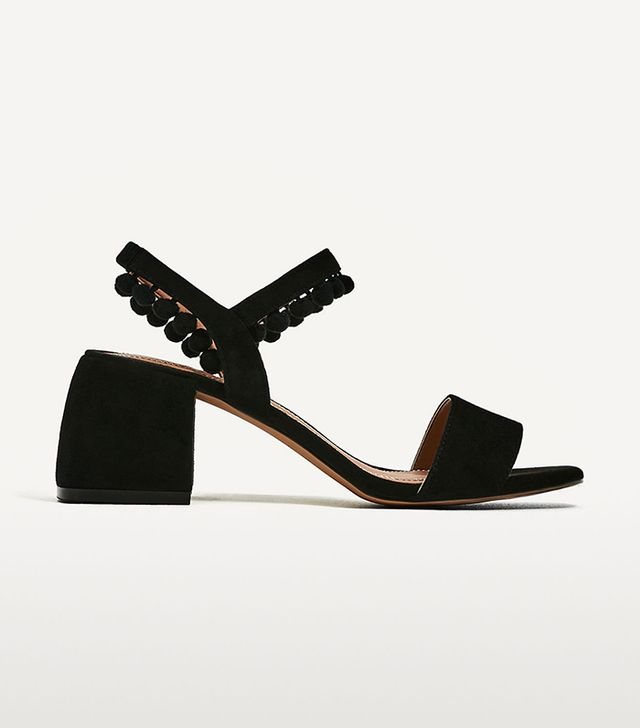 Zara Leather Mid Heel Pompom Sandals
