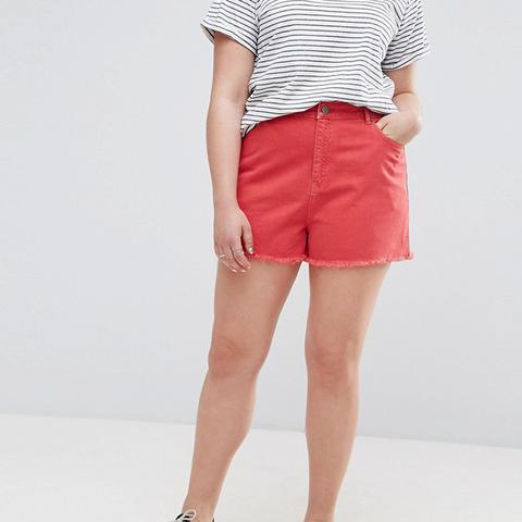 Denim Side Split Shorts in Red