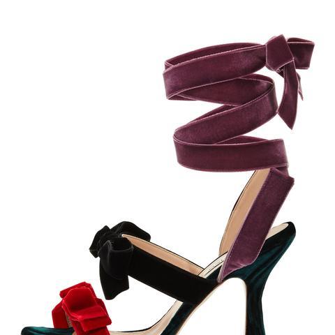 Diletta Velvet Bow Ankle-Wrap Sandal