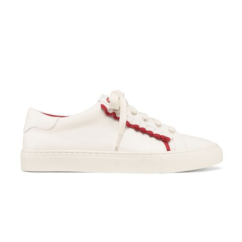 Ruffle Sneakers in Snow White/Nantucket Red