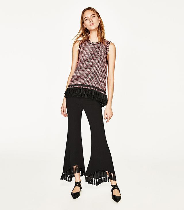 Zara Fringed Tweed Top