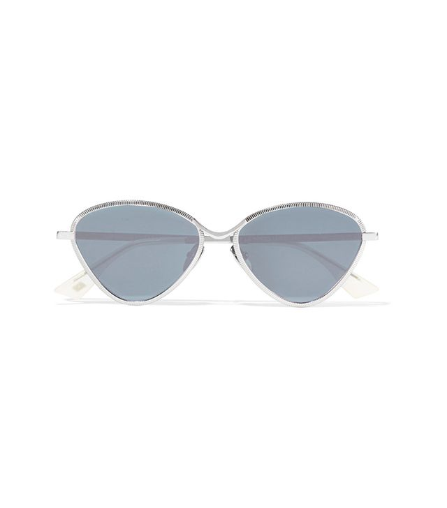 Le Specs Bazaar Cat-Eye Silver-Tone Mirrored Sunglasses