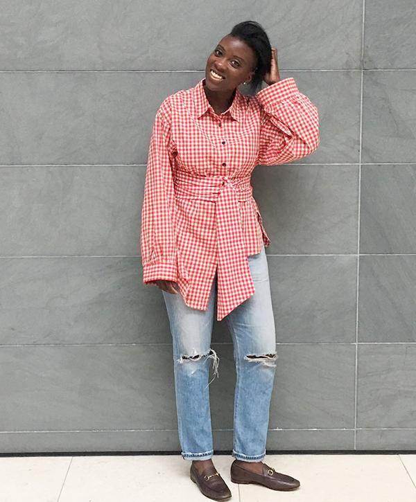 Nikki Ogunnaike of @nikkiogun in Gucci Loafers