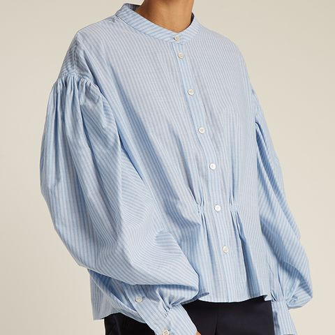 Lillium Balloon Sleeve Striped Cotton Shirt