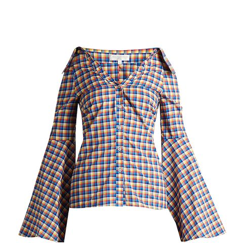 Persephone Off-the-Shoulder Flared-Sleeve Shirt