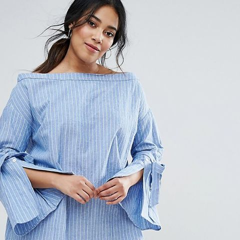 Striped Bardot Top With Fluted Split Sleeve