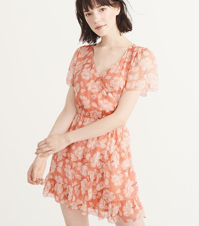 Abercrombie & Fitch Ruffle Wrap Dress in Coral Floral