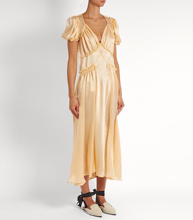 Attico Natalia V-Neck Silk-Satin Dress