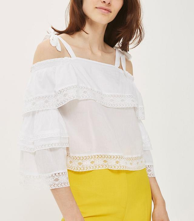 Topshop Lace Trim Layer Sun Top