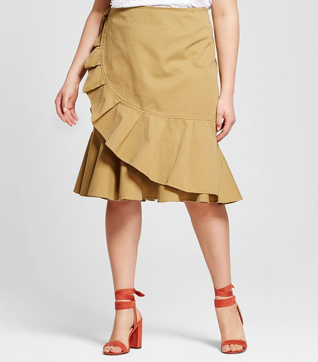 Who What Wear Plus Size Ruffle Wrap Skirt