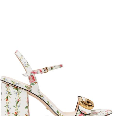Floral-Print Leather Sandals