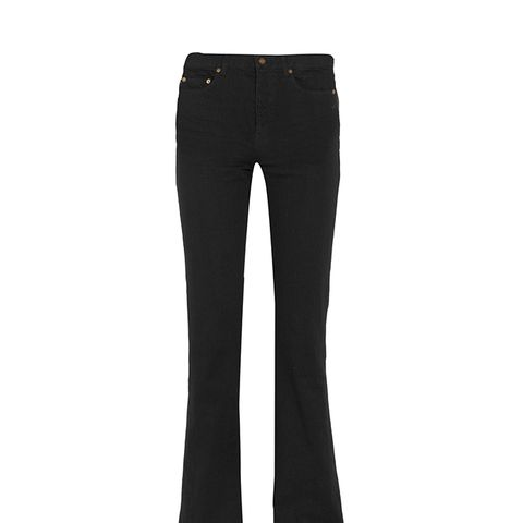 Frayed High-Rise Flared Jeans