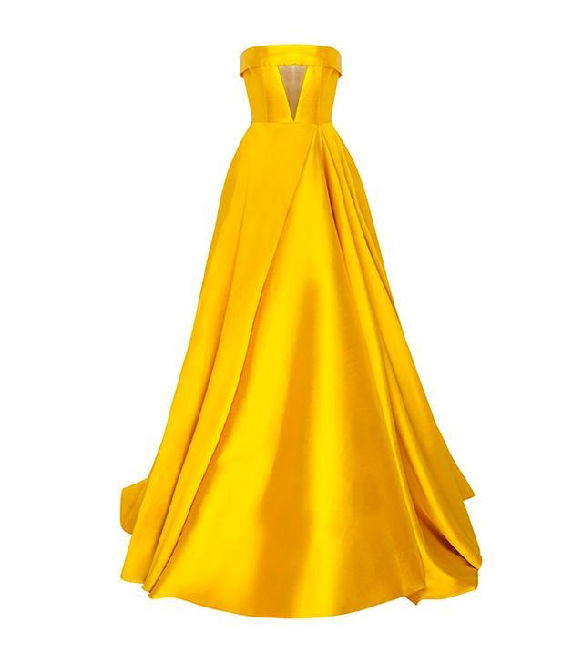 Alex Perry The Elsa Silk Strapless Crinoline Cuff Gown