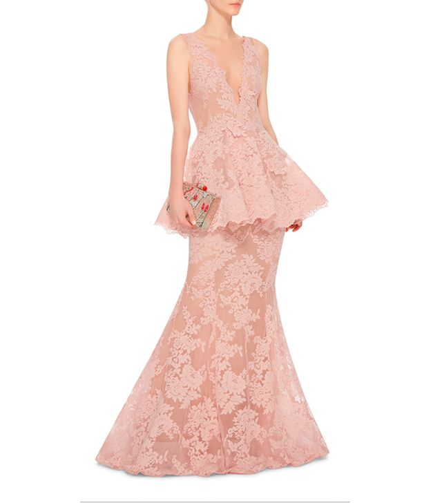 Marchesa Lace Peplum Gown