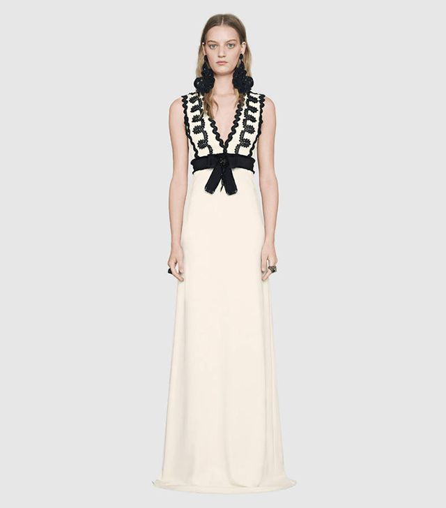 Gucci Viscose Jersey Gown With Lace Trim
