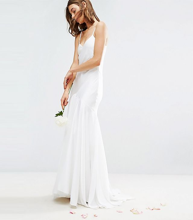 ASOS Bridal Cami Paneled Fishtail Maxi Dress