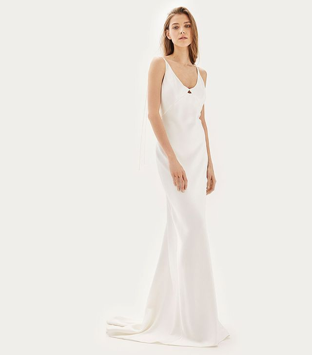 Tosphop Bride Satin Tie Shoulder Dress
