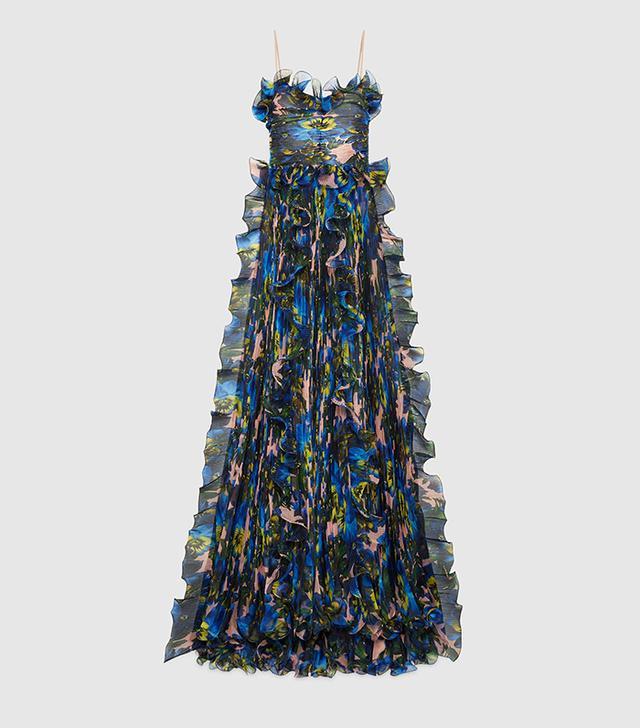 Violet print silk organza gown