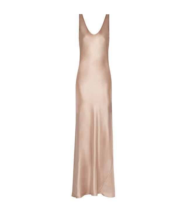 Scoop-neck sleeveless silk-satin gown